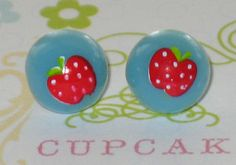 Polka Dot Apple Blue Stud Earrings 10mm Kawaii by JadeDumpling, $2.00
