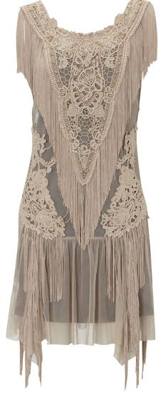 Lace Fringe Flapper Dress