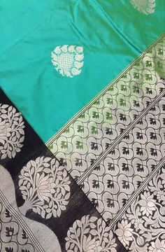 Green Handloom Banarasi Katan Silk Saree Banaras Sarees, Silk Saree Kanchipuram, Pure Silk Sarees, Cotton Saree, Ikkat Dresses, Elegant Saree, Stencil Patterns, Leather Pattern, Buy Sarees Online