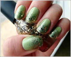 Green and gold faded nails