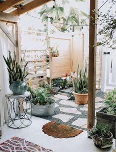Un patio rempli de plantes vertes, ambiance jardin d'hiver