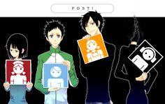 Anime/manga: Durarara!! Characters: Anri, Mikado, Izaya, and Celty