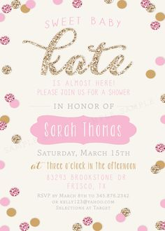 Girl Baby Shower Invitation - Gold and Pink Sparkle Glitter - Girl Baby Shower Invitation Gold and Pink by RachellesPrintables - Baby Shower Invites For Girl, Baby Shower Fun, Girl Shower, Baby Shower Gifts, Shower Party, Bridal Shower, Bebe Love, Vintage Rosen, Baby Shower Invitaciones