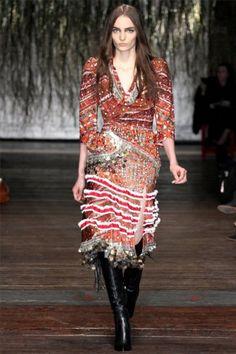 Embellished dress, maroon and orange   Altuzarra Fall '12 fashion show