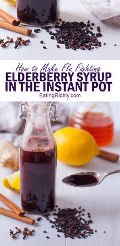 Elderberry syrup is an easy, all natural, immunity boosting home remedy that studies have shown can help shorten the effects of the flu. This elderberry syrup recipe uses the Instant Pot so that your syrup is ready in under an hour! via @eatingrichly