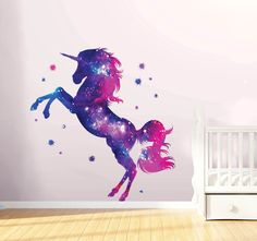 Stars Unicorn Wall Decal Stickers Fantasy Girls Bedroom Wall Art Cute Nursery You are buying a stunning unicorn wall Decal stickers made in the UK by KisStickers. We print using a Roland Printer with official Eco Sol Max inks me. Wall Decals Uk, Nursery Wall Stickers, Wall Stickers For Girls, Wall Vinyl, Vinyl Art, Vinyl Decals, Girl Bedroom Walls, Bedroom Murals, Bedroom Ideas