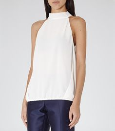 Womens Champagne Neck-tie Top - Reiss Hartley