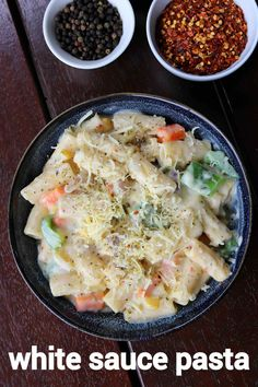 white sauce pasta recipe, creamy pasta recipe in white sauce with step by step photo/video. cheesy pasta with white sauce, soft & tasty penne pasta. Paratha Recipes, Paneer Recipes, Veg Recipes, Spicy Recipes, Curry Recipes, Kitchen Recipes, Cooking Recipes, Snacks Recipes, Cheesy Pasta Recipes