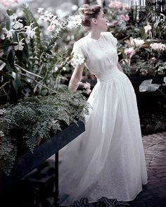 1947 Model in lovely white organdy dress by Marion McCoy