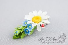 Hair clip with chamomile and forget-me by polyflowers