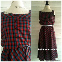 Vintage Plaid Sundress - Rockabilly Red and Teal Plaid Dress on Etsy, $25.48 CAD
