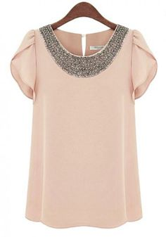 Pink Plain Beading Lotus Sleeve Loose Chiffon Blouse