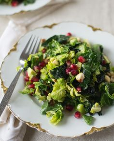 Brussels Sprout Kale Salad with Pomegranate, Hazelnuts & Creamy Avocado Dressing by Good Things Grow   |   Sambazon
