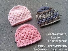Granny Square Beanie in 3 Baby Sizes - Free Crochet Pattern. Mel's note: make with a hook and yarn - mth size. Add more rows of granny clusters. Preemie Crochet, Bonnet Crochet, Crochet Baby Hat Patterns, Crochet Cap, Crochet Baby Clothes, Crochet Beanie, Free Crochet, Crochet Mittens, Crocheted Hats