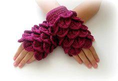 Fingerless Gloves , Burgundy, Fuchsia, Maroon, Red-violet,  Trendy, Girly, Teenie, Women, Flower on Etsy, $32.00