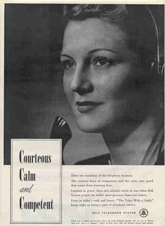 """1940s Bell Telephone operator vintage ad """"Courteous, calm & competent"""" claim"""