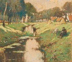 Henri Cassiers - Berger au bord du ruisseau en été