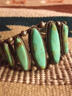 Vintage Native American Navajo Royston Turquoise & Sterling Silver Cuff Bracelet