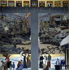 Sacrifice c 1918 by Charles Sims The image of the  Crucifixion used to capture the Canadian experience of war overseas and on the home front.