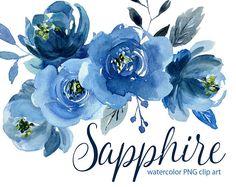Clipart de flores Acuarela: rosas azules índigo flores Aquarelle Digital Clip Art, Marina acuarela zafiro boho peonía flores png clipart