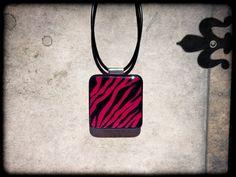 Zebra Print Resin Pendant by FusionFrenzy on Etsy, $10.00