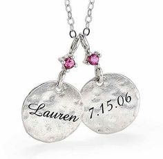Baby Name Charm Necklace with Birthstone - great gift for a new mom!