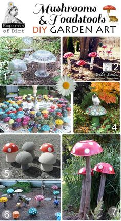 DIY Mushrooms & Toadstools Garden Art - make your own with wooden or glass bowls or concrete