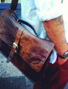 This awesome leather messenger bag is stylish but not pretentious—and equally good for interviews or when slung over the shoulder during a bicycle ride.
