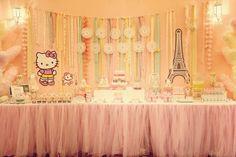 Hello Kitty Paris dessert table