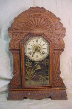 Antique sessions oak mantle kitchen clock