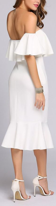 White Backless Off the Shoulder Ruffles Mermaid Slim Dress