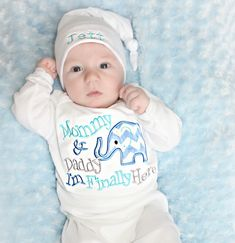 Baby Elephant Newborn Boy Take Home Outfit / Mommy & Daddy I'm Finally Here