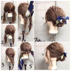簡単で可愛い?自分でできるヘアアレンジ✨ ロングのスカーフアレンジ? 結婚式の2次会でも使える、カジュアルだけど上品テイストな三つ編みスカーフstyle✂︎ ・ ・ ゴム2本.ピン2本 所有時間10分 1.ジグザグに斜めに髪を2つに分けます。 2.右の毛束から三つ編みして毛先はゴムで結ぶ 3.左の毛束も三つ編みして毛先はゴムで結び。 4.それぞれ三つ編みした毛束の下からスカーフを通します。 5.2つの三つ編みした毛束とスカーフを重ねて固結びしていきます。 Fin.毛先は上に持ち上げて固結びした中央付近にバランス良くピンで留めます。スカーフはリボン調に整え、おくれ毛をコテで巻いたら完成です? ・ *アレンジリクエストお待ちしてます* ・ 吉祥寺 LinobyU-REALM リノバイユーレルム ?0422272131 東海林翔太 Work Hairstyles, Scarf Hairstyles, Pretty Hairstyles, Long Hair Video, Hair Arrange, Hair Videos, Hair Today, Hair Hacks, Hair Inspiration