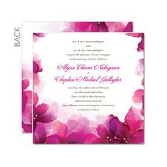 """Wedding invitations in fuschia or purple """"majestic."""""""