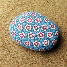 Painted Door Stop – Dot Art – Pointillism – Paperweight – Painted Stone – Cherry Blossom – Gift for - Gute Besserung Spruch Stone Art Painting, Dot Art Painting, Pebble Painting, Pebble Art, Mandala Painting, Painted Gourds, Painted Rocks, Cherry Blossom Painting, Cherry Blossoms