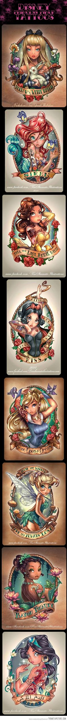 8 Very Cool Disney Princess Pinup Tattoos… sorry for always feeling the need to do this, but there's an apostrophe missing in the Snow White tat... Love's kiss.  Already commented on the mangled quote in the Tink one in another pin.  Really cool art, though.