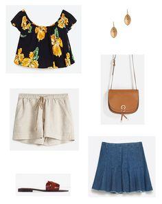 Black floral off the shoulder top+beige linen shorts or denim skirt+brown slides+camel crossbody+gold earrings. Summer Casual Outfit 2016