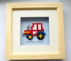 """Perler tractor """"Andrew's room"""" sign"""
