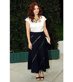 @Who What Wear - 2011                 Making her way into Chanel's benefit dinner for the Natural Defense Council's Oceans Initiative.  On Barrymore: Chanel silk blouse, navy skirt from the S/S 11 collection.
