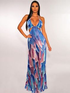 Shop Now Stylish Holiday Printed Halter Maxi Dress #Bohemian #Beach #Collection #stylish #Likeforlike #comment #treading #fashion Halter Maxi Dresses, Blue Dresses, Backless Dresses, Summer Outfits, Summer Dresses, Bohemian Beach, Feather Print, Fashion Prints, Stylish