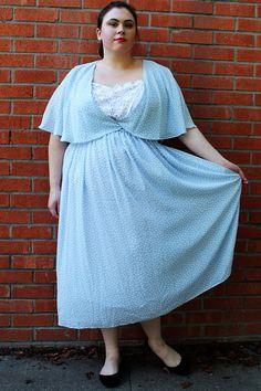 Plus Size  Vintage Blue & White Polka Dot Chiffon Dress w/ Crochet Detail by TheCurvyElle, $45.00