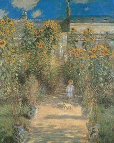 "Claude Monet ""Monet's Garden in Vetheuil"" / $144 - $479 incl.20% VAT and Shipping / Click http://mondialart.co.uk/product/monets-garden-in-vetheuil/ #art #painting #mondialart #replica"