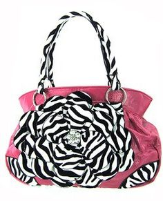 Gorgeous Raised 3d Zebra Flower Purse Handbag Hot Pink - Velvet Stripes   Handbags  Amazon.com 6b4c684ad52