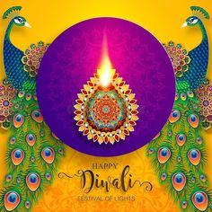 Illustration about Happy Diwali festival card with gold diya patterned and crystals on paper color Background. Illustration of deepavali, holiday, happy - 126253264 Diwali Cards, Diwali Greeting Cards, Diwali Greetings, Diwali Diya, Diwali Wishes, Happy Diwali Images Hd, Happy Diwali Pictures, Happy Diwali Quotes, Diwali Painting
