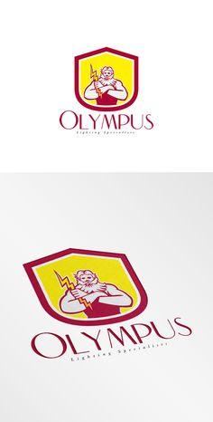 Olympus Lighting Specialist Logo. Logo showing illustration of Zeus Greek arms cross holding thunderbolt set inside circle on isolated background done in retro style. 100% re-sizeable