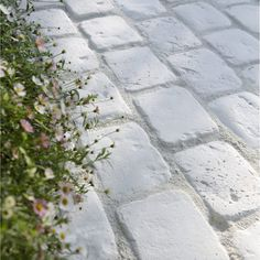 Trame 6 pavés aunis pierre reconstituée, creme L.102 cm x l.12 cm x Ep.20 mm