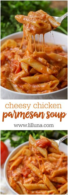 Cheesy Chicken Parmesan Soup - trust me, this recipe will not disappoint! A creamy and delicious tomato-base soup filled with chicken, penne pasta, and of course cheese!(Italian Recipes With Chicken) Easy Pasta Recipes, Chicken Recipes, Easy Meals, Cooking Recipes, Dinner Recipes, Beef Recipes, Healthy Recipes, Recipes With Tomato Soup And Chicken, Cheese Recipes