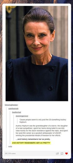 Funny pictures about Older Audrey Hepburn. Oh, and cool pics about Older Audrey Hepburn. Also, Older Audrey Hepburn. Audrey Hepburn, Katharine Hepburn, Plus Tv, Faith In Humanity Restored, Good People, Amazing People, Leonardo Dicaprio, Role Models, Dylan O'brien