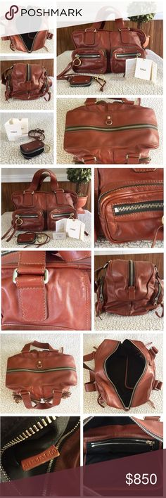"""Authentic Chloé Betty bag whiskey brown leather Authentic Chloé Betty bag in rich whiskey brown leather. Two-tone hardware- silver and gold, dual flat shoulder straps with approximately 9"""" drop, eight exterior double zip pockets, black canvas lining, single interior zip pocket and zip closure at top. 5 metal feet on bottom. Includes coin purse. Gently pre-loved in excellent condition for its age with minor signs of wear on bottom and around pockets as seen in photos. Bag measures approx…"""