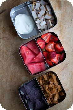 Easy lunch box ideas: butternut barbecue pulled pork; tortilla chips; cumin-seared pork chop; sour cream; watermelon; and strawberries. http...